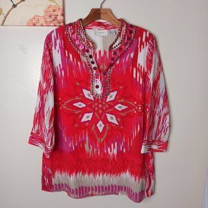 Chico's Embellished Women Top Blouse Indian style